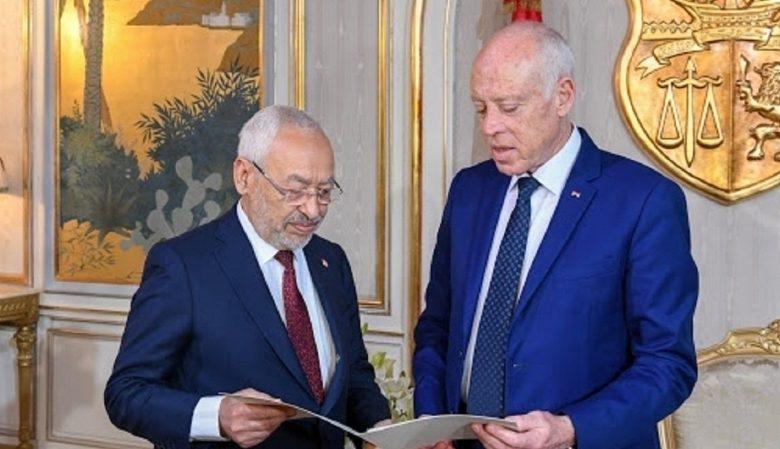 الرئيس التونسي قيس سعيد ورئيس البرلمان راشد الغنوشي